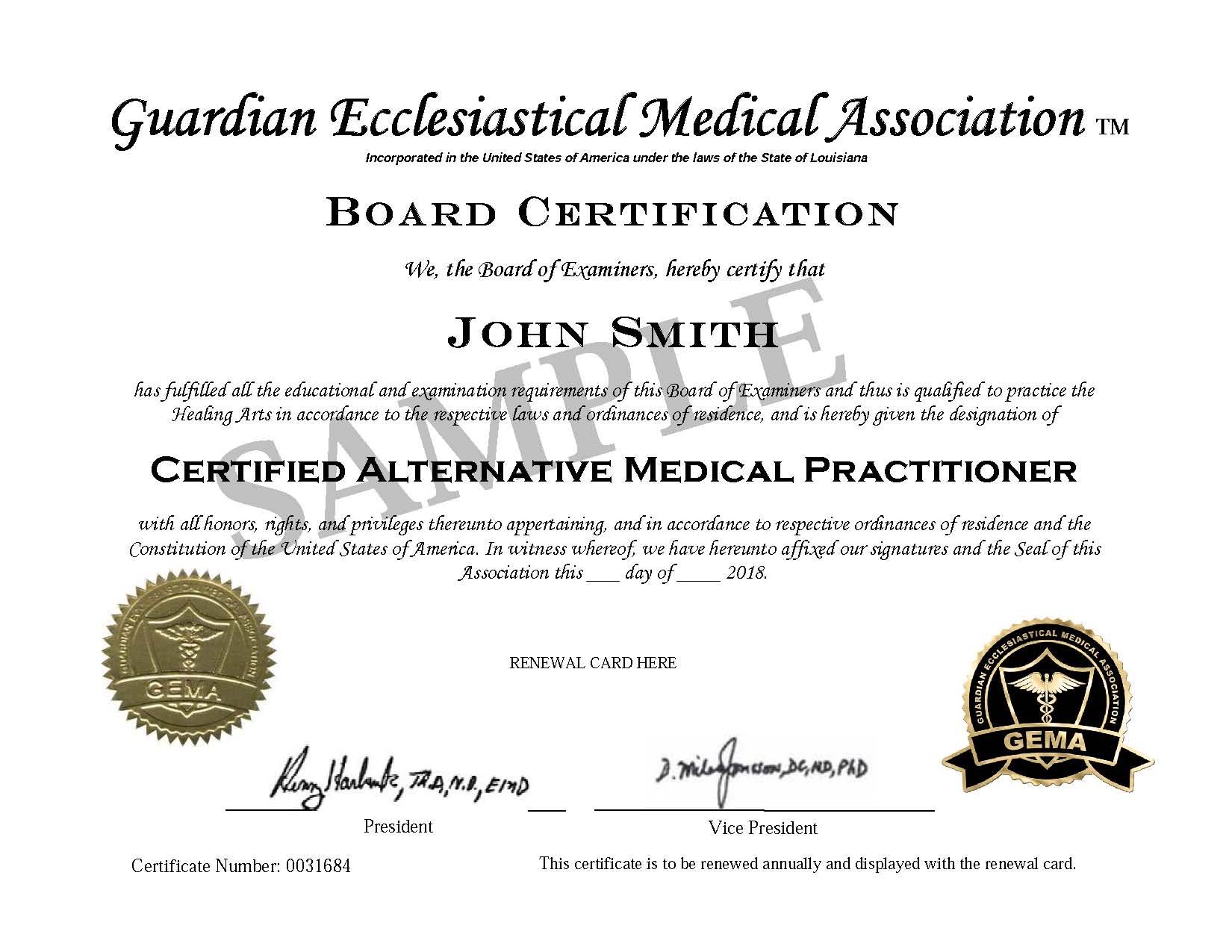 Gema Board Certification Certificate Guardian Ecclesiastical