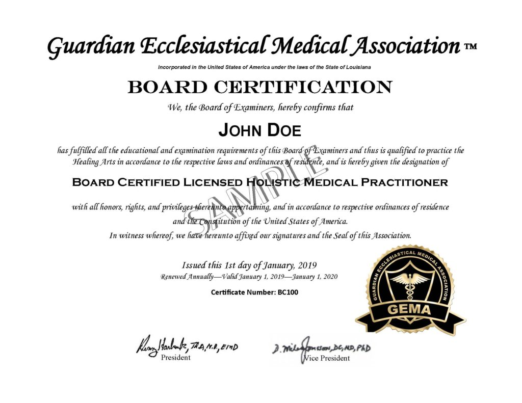 Usa Board Certification Guardian Ecclesiastical Medical Association